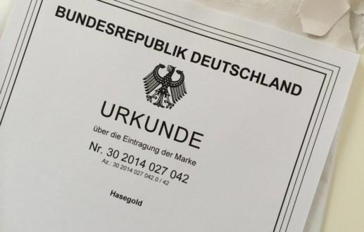 MARKENNAME Hasegold eingetragen beim deutschen Patentamt