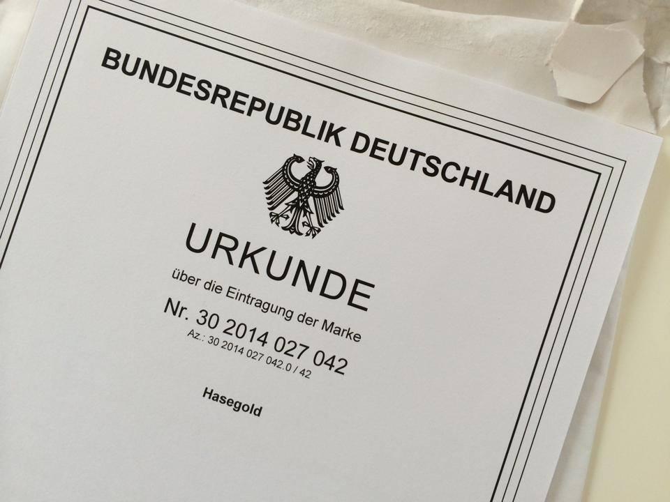 MARKE Hasegold eingetragen beim deutschen Patentamt