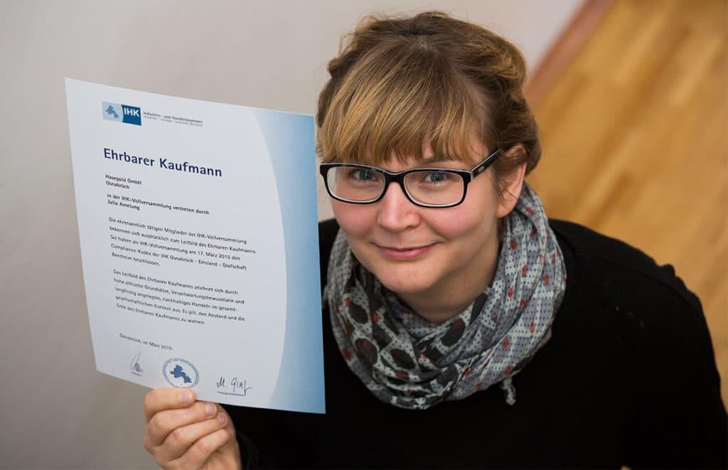 Ehrbarer Kaufmann in der Osnabrücker Grafikdesignagentur Hasegold