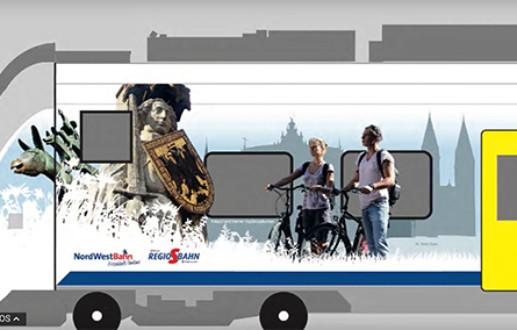 Grafikdesign Regio-S-Bahn /// Grafikdesign auf großer Flächer: Auf der Bremer S Bahn realisierte die Osnabrücker Grafikagentur Hasegold eine Zuggestaltung