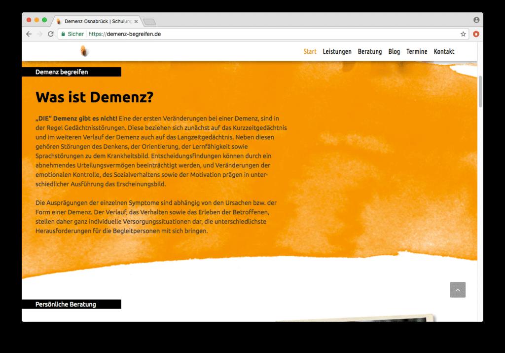 Demenz begreifen Webseite mit WordPress erstellt