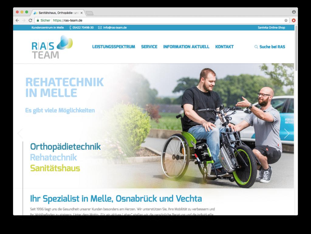 RAS Wordpress Webseite zeigt das Corporate Design von hasegold aus osnabrück