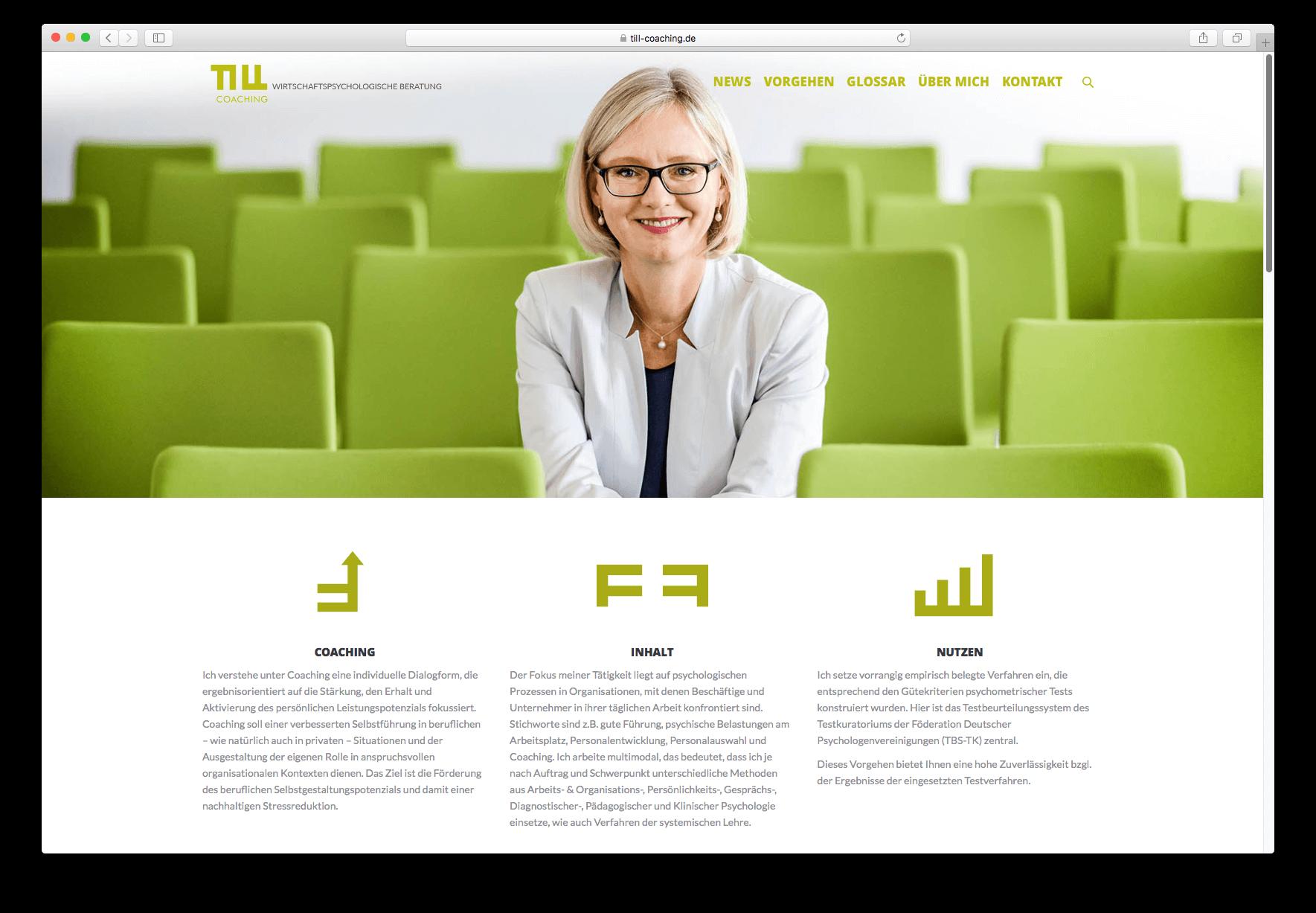 Die Internetseite für Till Coaching hier ist die Startseite zu sehen