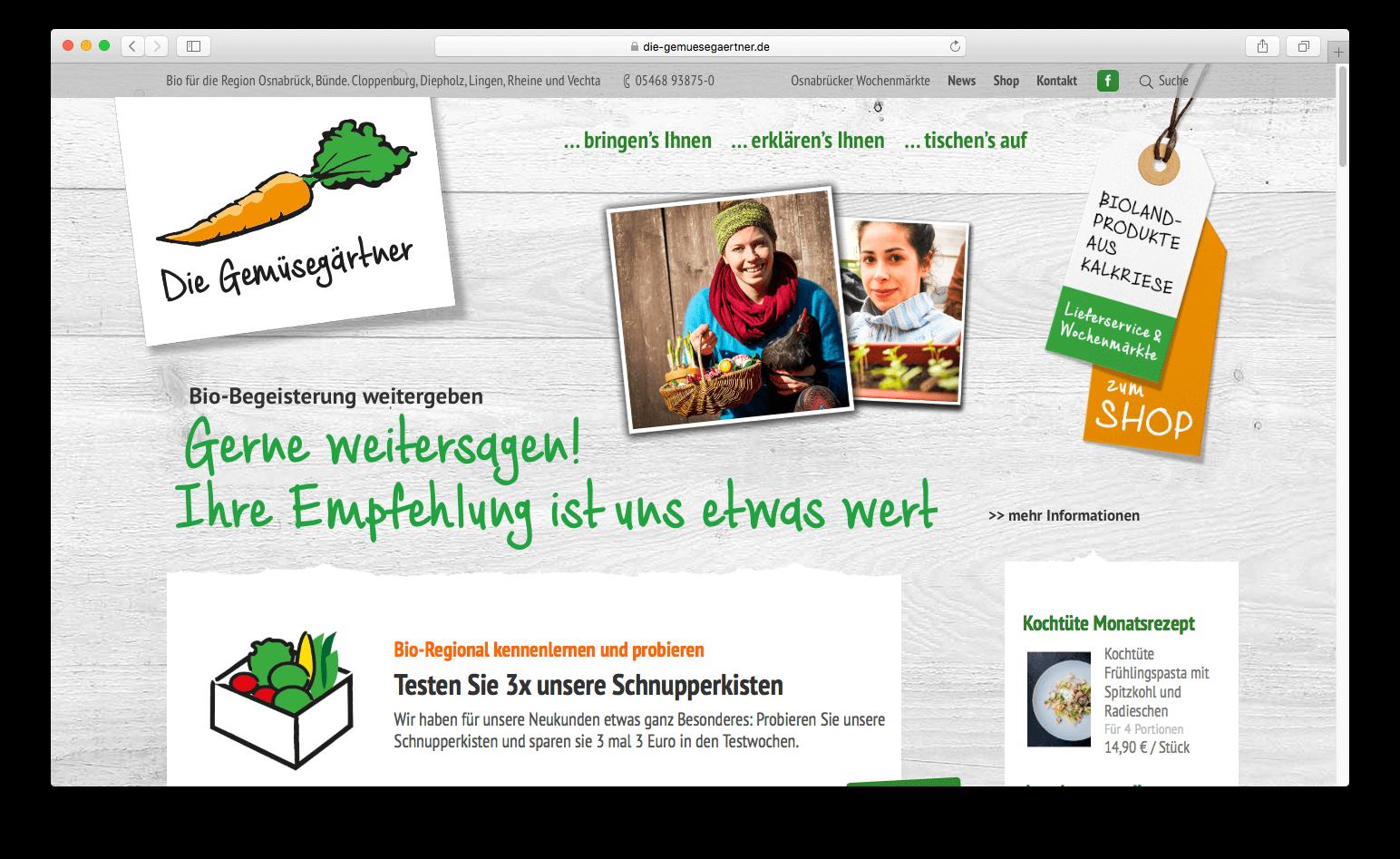 Die Webseite der Gemüsegärtner mit SEO Optimierung von Hasegold