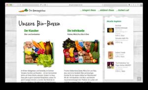 Die Bio-Kisten der Gemüsegärtner auf der Webseite mit SEO