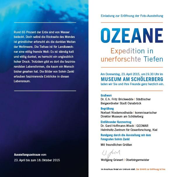 Zweite Seite der Einladung für die Ausstellung Unendliche Tiefen am Schölerberg in Osnabrück