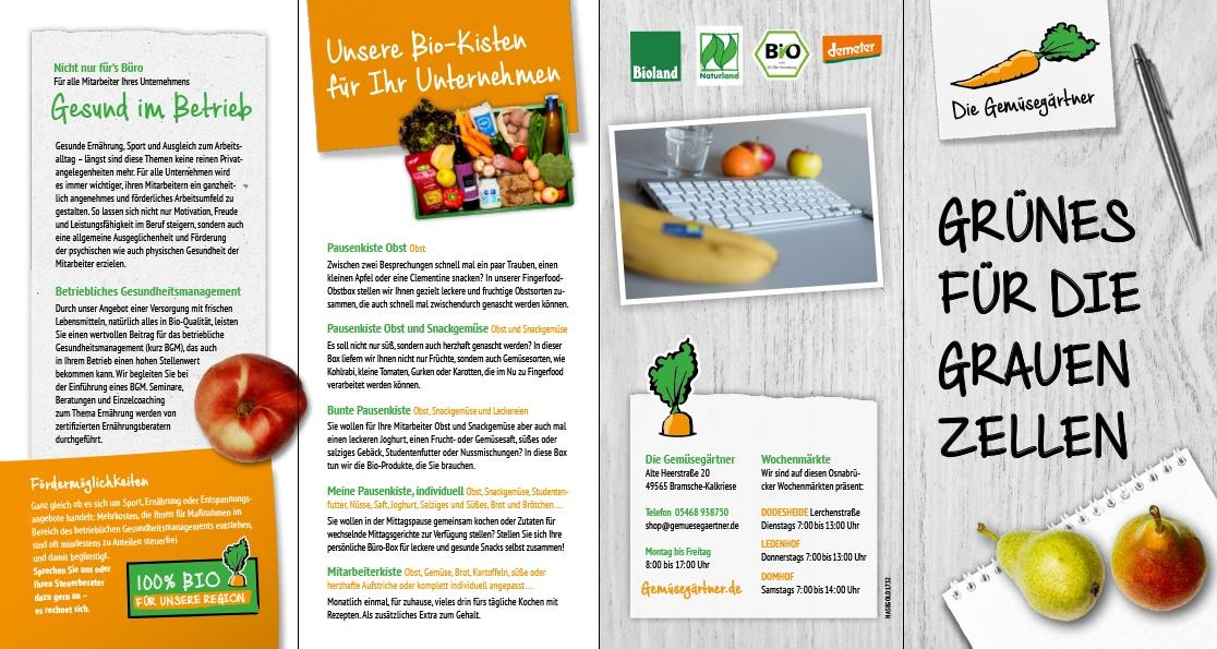 Der Flyer der Gemüsegärtner auch mit SEO Webseite