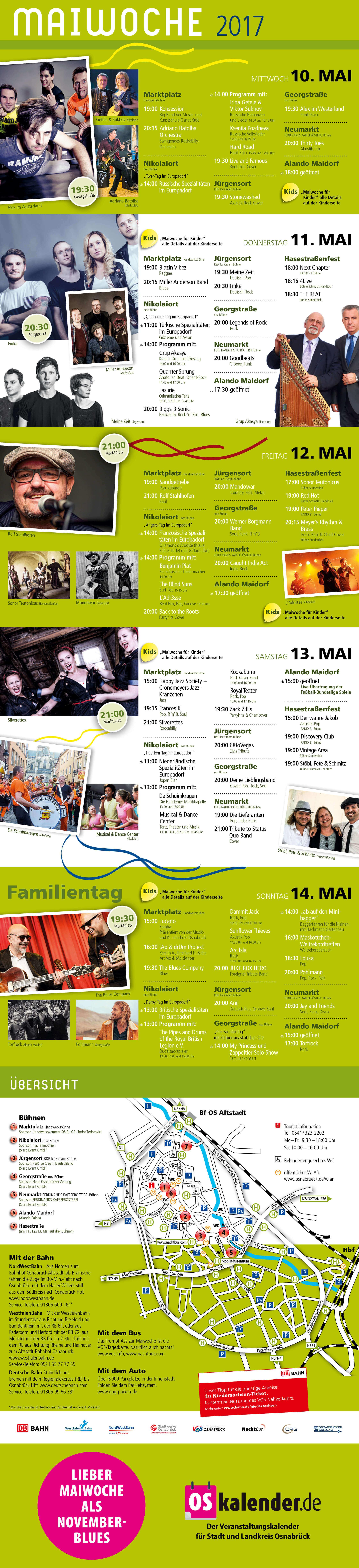 Der Flyer der Maiwoche wurde von der Osnabrücker Grafikdesign-Agentur gestaltet