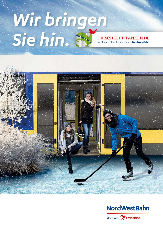 NWB Plakat im Winter mit Eis und Schnee und Schlittschuhläufer als Bildmontage