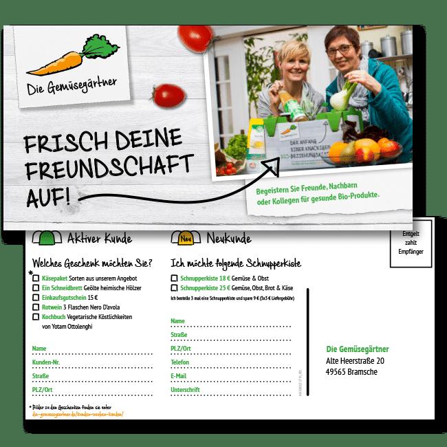 Postkarten der Gemüsegärtner werden verschickt, im Internet vertreten, mit SEO Internetauftritt
