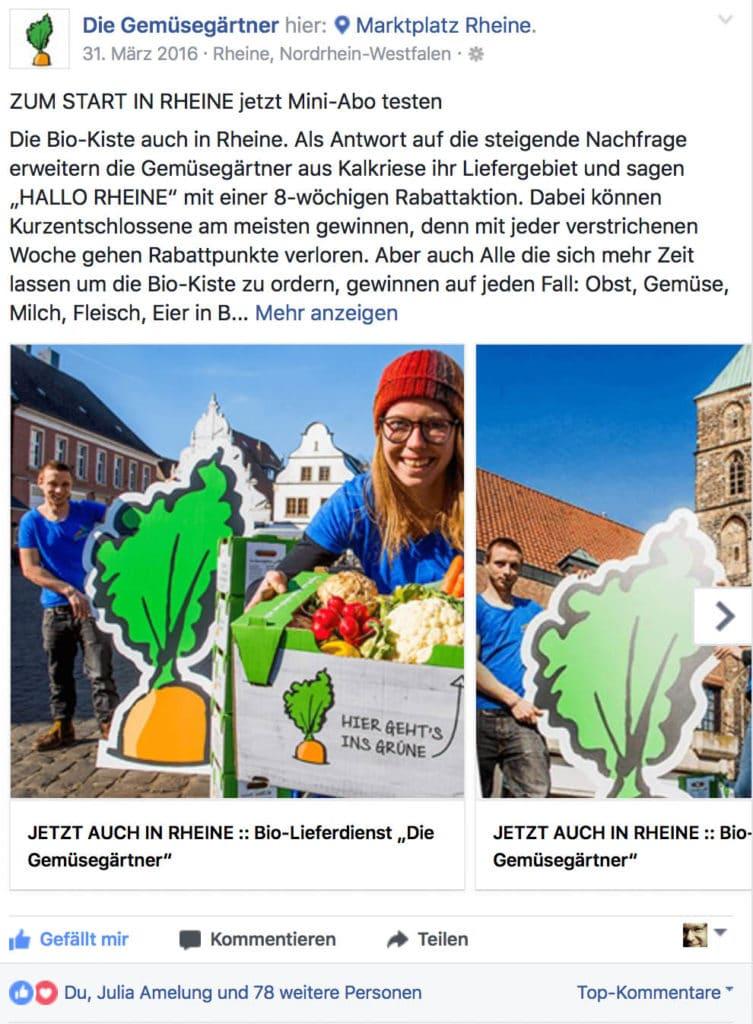Facebook-Aktionen in Rheine und Lingen