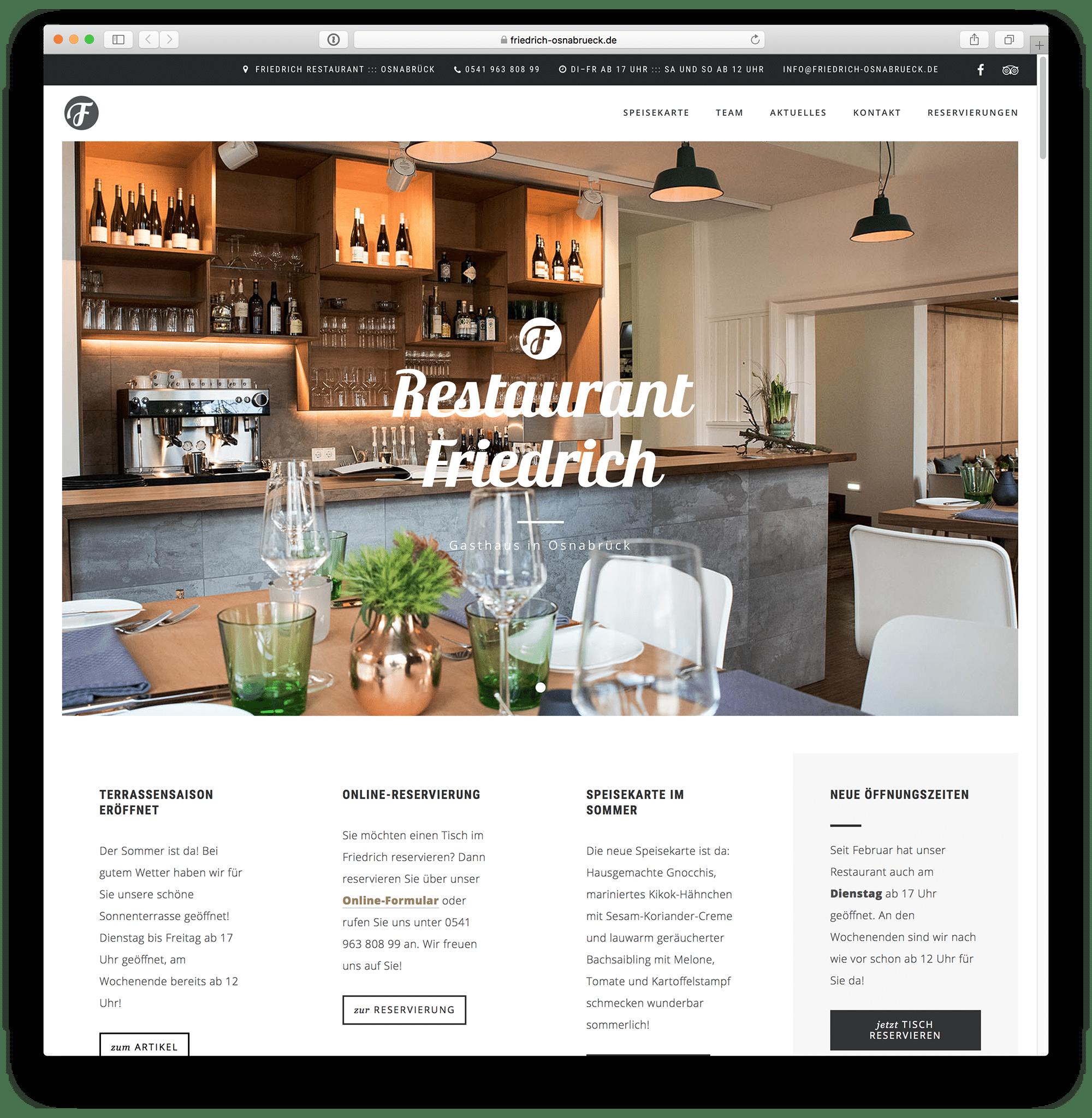 WordPress Webseite für das Osnabrücker Restaurant Friedrich