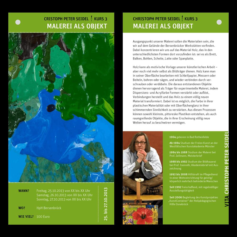 Die Einzelseite der Kunst-Saison in grün gestaltet von Hasegold