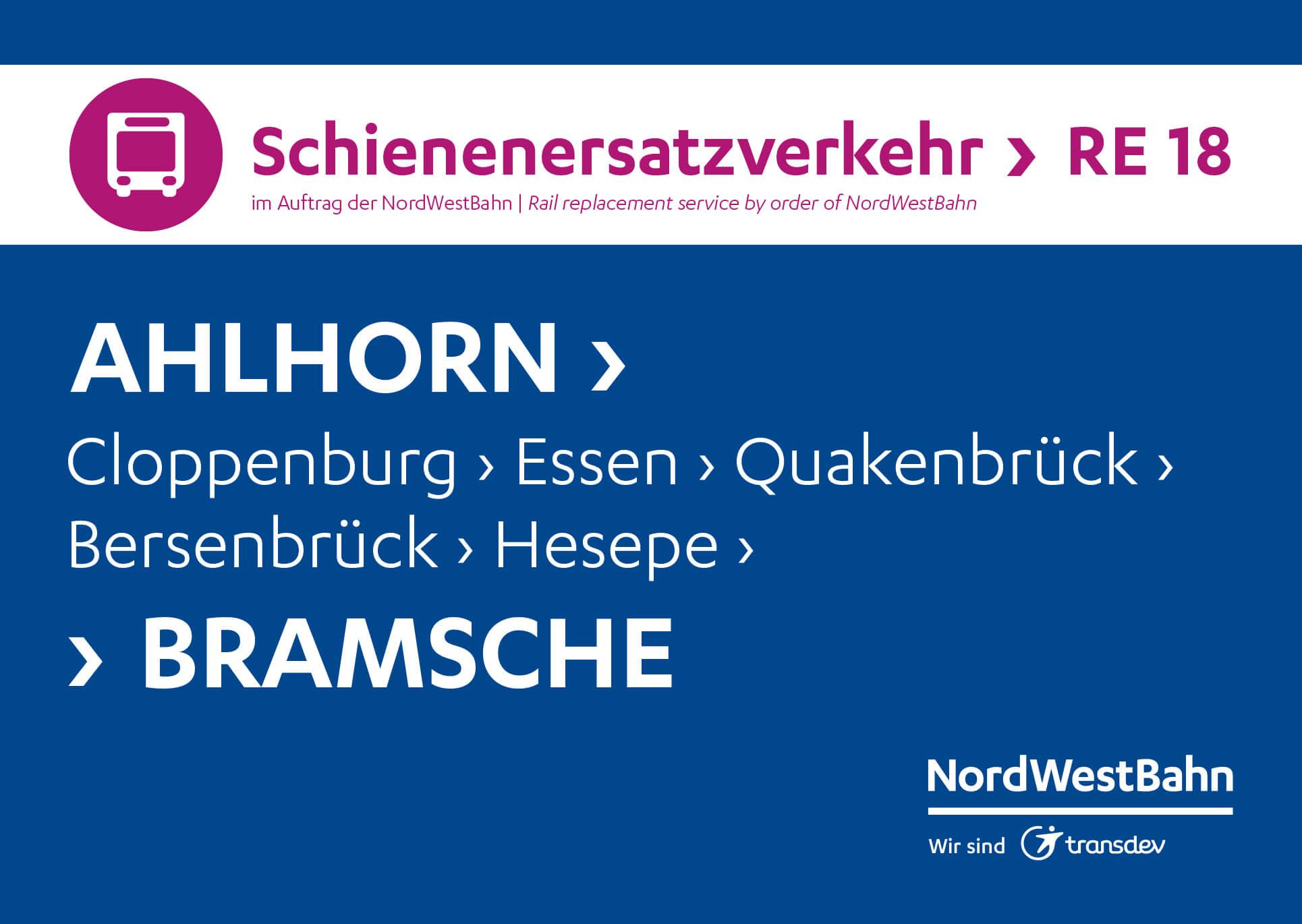 Die Schilder des Schienenersatzverkehrs in den Bussen zu den Fahrplan Designs des ÖPNV