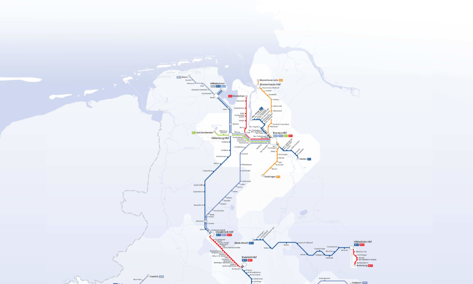 OEPNV zeit das Liniennetz der NordWestBahn