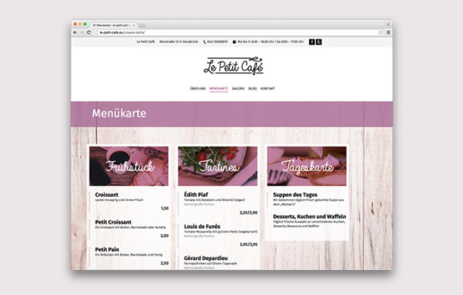 Wordpress macht eine schöne Website vom Le petit Cafe