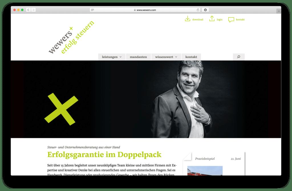 Claim-Entwicklung und CD sowie WordPress Webseiten für Osnabrücker Steuerberater wewers