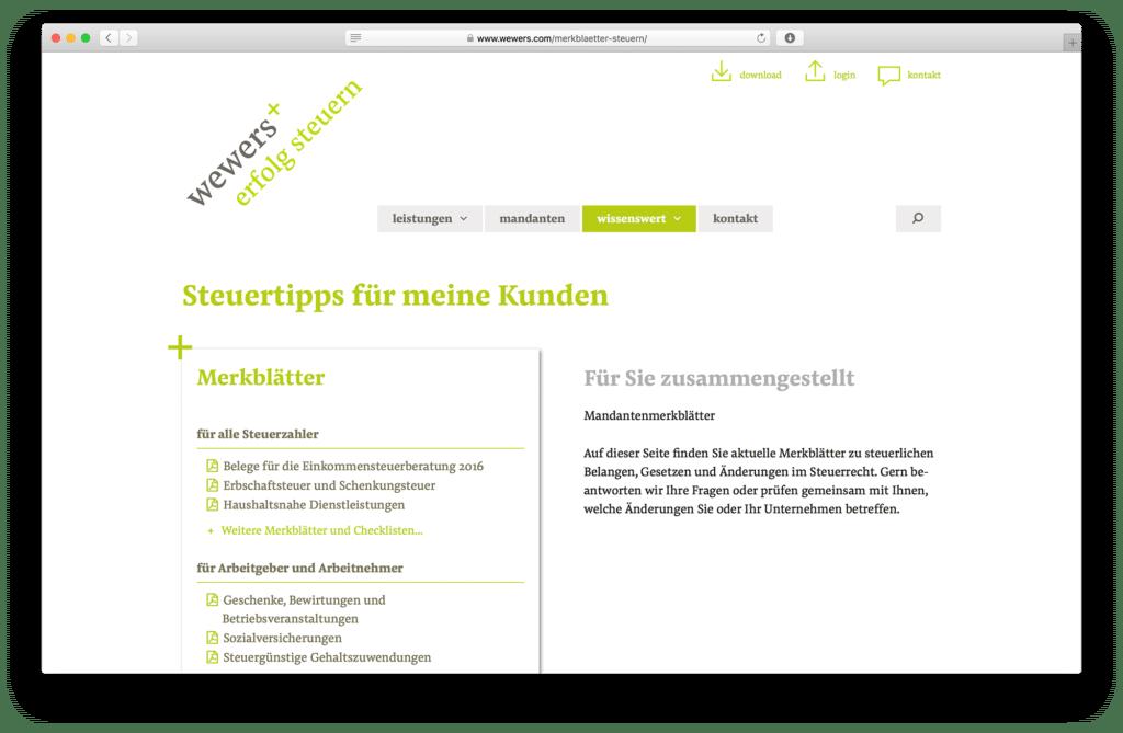 Einbindung von Steuertipps in WordPress Webseite. Den Claim kann man sich gut merken