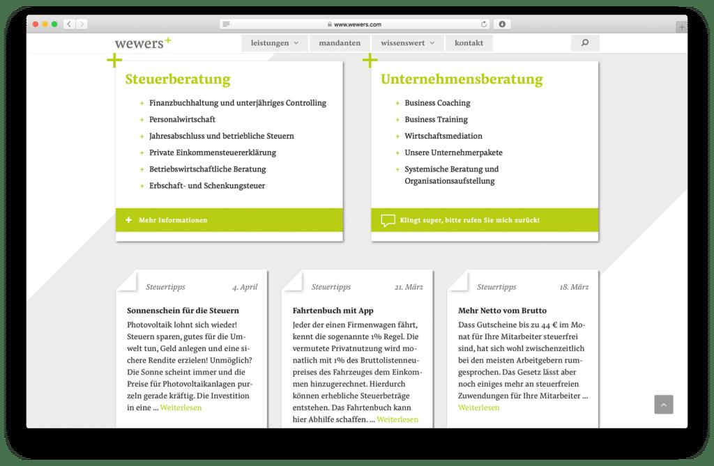 Unternehmens- und Steuerberater Webseite von Osnabrücker Agentur Hasegold