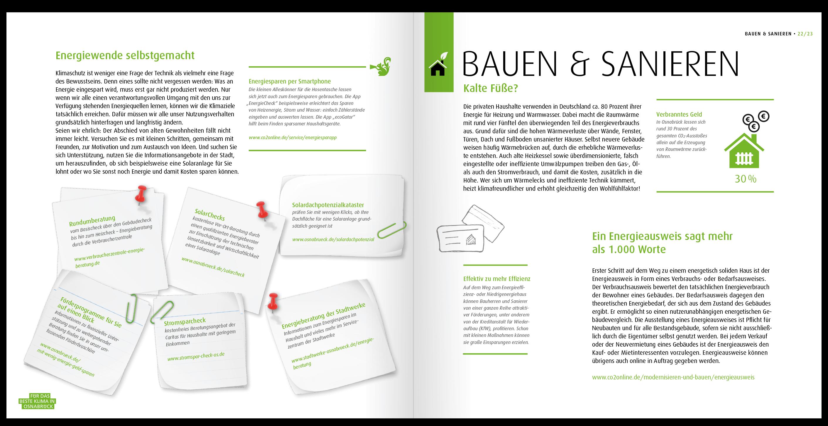 Die Broschüre gibt Infos über ein nachhaltiges Bauen und Sanieren