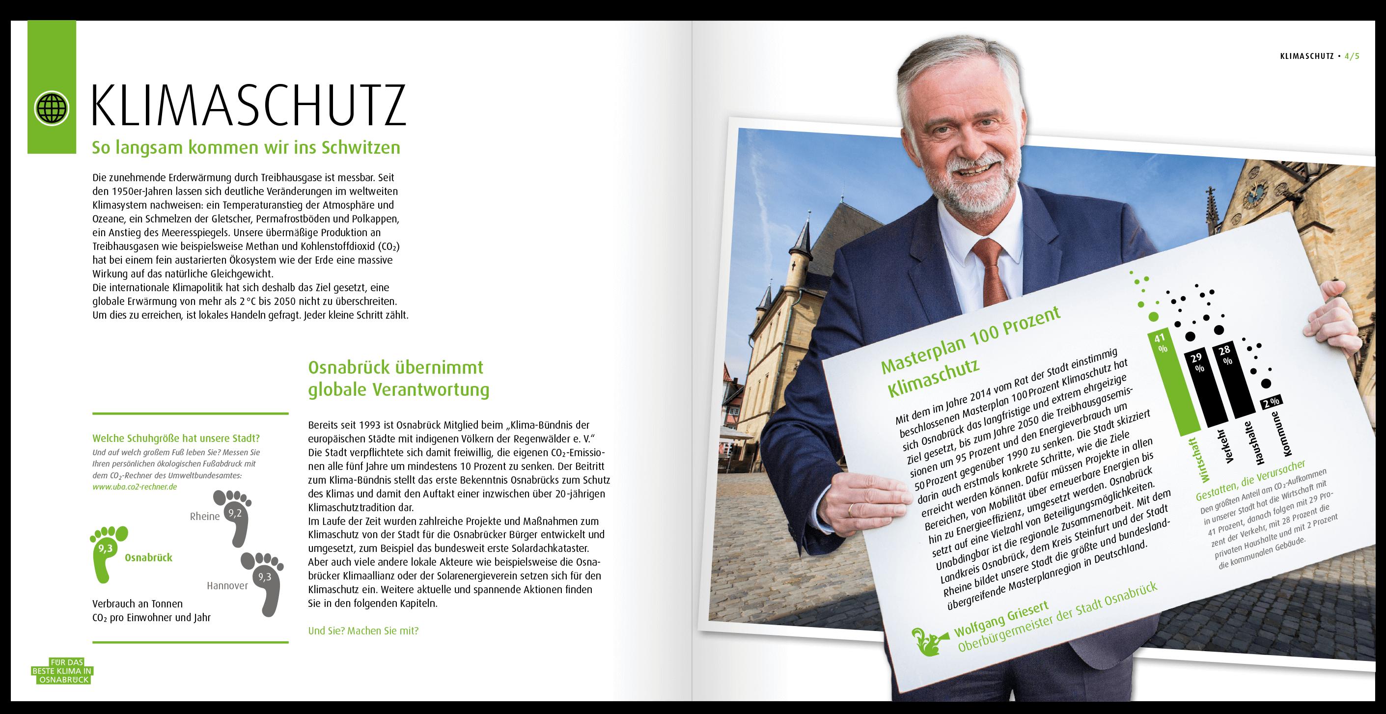 Illustrationen: Der Oberbürgermeister von Osnabrueck unterstuetzt ein besseres Klima in der von HASEGOLD gestalteten Broschuere