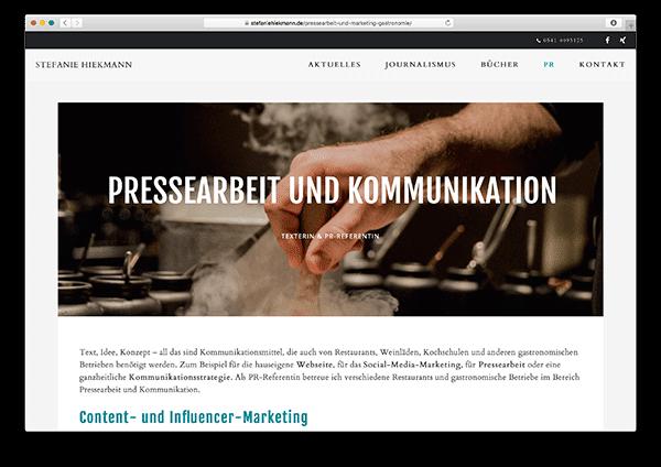 Kleine WordPress Webseite für Osnabrücker Food- und Gastro Medienberaterin