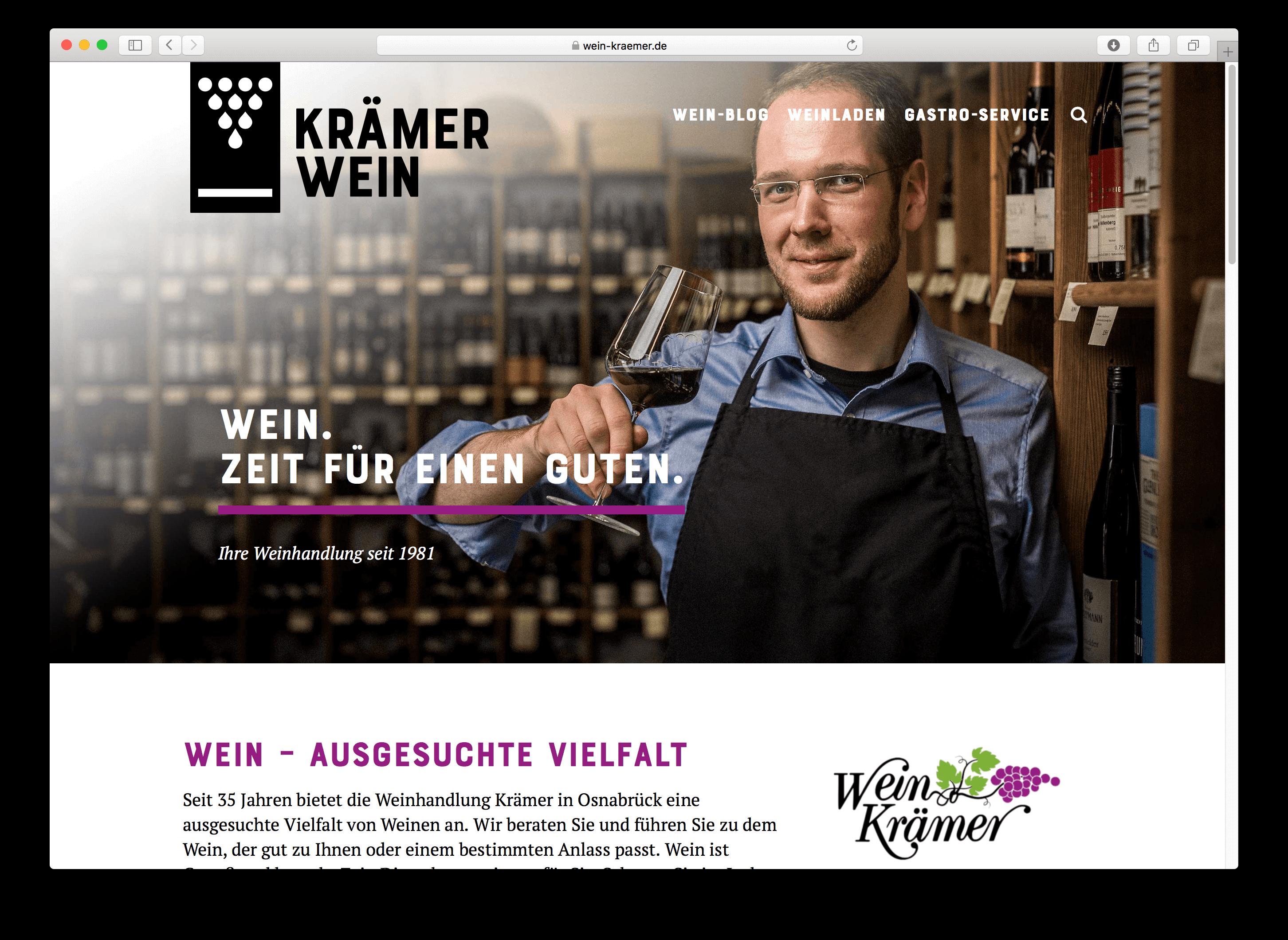 WordPress-Webseite für Osnabrücker Weinladen Krämer Wein – jetzt mir neuem Design