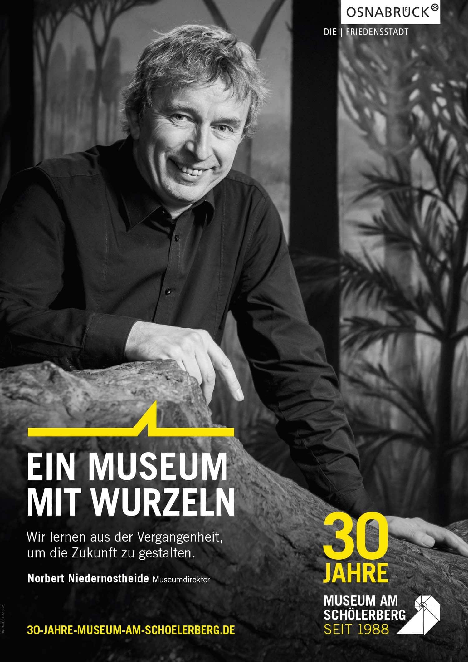 Plakat Osnabrück: Die Plakatserie für das Museum am Schölerberg zeigt Norbert Niedernostheide