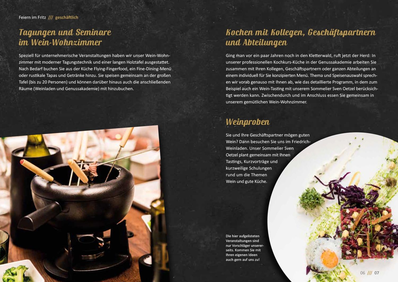 Broschüre Osnabrück: Die Freidrich Genussakademie mit ihrem Programm Booklet geschaltet von der Grafikdesign-Agentur HASEGOLD
