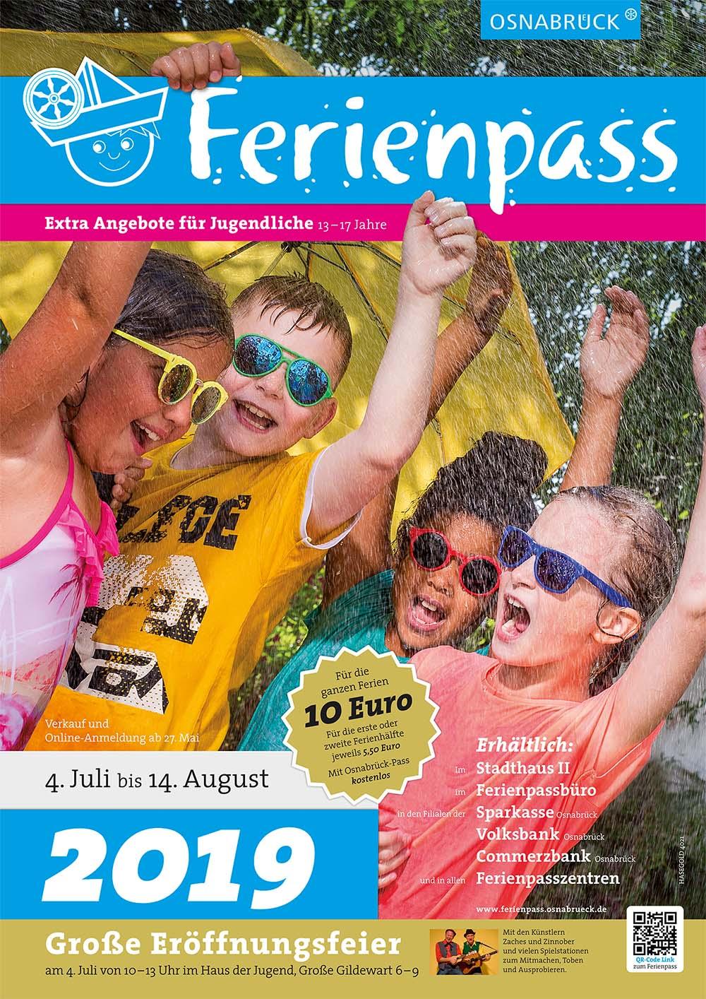 Das Plakat des Ferienpass 2019 in Osnabrück /// Gestaltung Grafikdesignagentur HASEGOLD