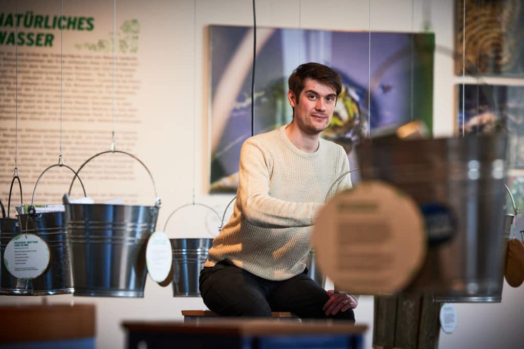 Über Wasser: Steffen Unland im Museum Industriekultur in Osnabrück. Er war der Grafikdesigner für die WASSER-Austellung in der Waschkaue